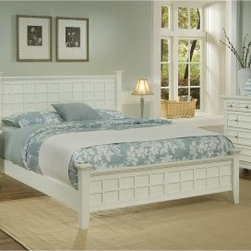Arts and Crafts Queen Poster Bed - White - Mission design is traditional and timeless, which means this Arts and Crafts Poster Bed - White will always be in style. Defined by its raised wood lattice moldings and strong lines, this bed is distinctive. It's well-crafted of Asian hardwood solids and hardwood veneers in a fresh white finish. For a complete Arts and Crafts make-over in your bedroom, add on the optional, matching headboard, nightstand, and chest. The headboard features the same raised wood lattice moldings and squared posts that will make it the showpiece of your bedroom design. The nightstand is a convenient bedside companion with a drawer, open storage, and generous top. The chest has four spacious drawers for clothing storage and more. Furniture Dimensions:Optional Queen Headboard: 64.25W x 4D x 48.5H in.Optional Nightstand: 18W x 16D x 24H in.Optional Chest: 36W x 16D x 36H in.About Home StylesHome Styles is a manufacturer and distributor of RTA (ready to assemble) furniture perfectly suited to today's lifestyles. Blending attractive design with modern functionality, their furniture collections span many styles from timeless traditional to cutting-edge contemporary. The great difference between Home Styles and many other RTA furniture manufacturers is that Home Styles pieces feature hardwood construction and quality hardware that stand up to years of use. When shopping for convenient, durable items for the home, look to Home Styles. You'll appreciate the value.