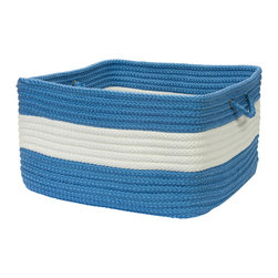 "Colonial Mills, Inc. - Rope Walk, Blue Ice Utility Basket, 18""X12"" - Hold everything. This square, handled basket will help you hold, hide and haul just about everything indoors or out. Durable and adorable, the braided polypropylene is stain and fade resistant in a bright blue and white stripe that's sure to look great in your mudroom or laundry room, or holding towels near the pool."