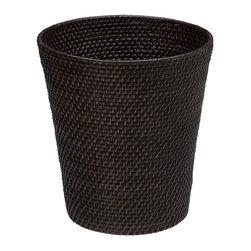 Kouboo - Round Rattan Waste Basket, Espresso - Hand woven from Rattan.