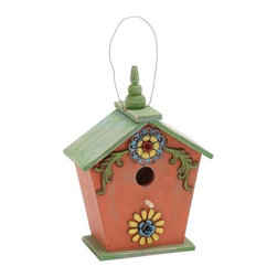 Benzara - Wooden Birdhouse in Pink and Green with Natural Texture - Wooden Birdhouse in Pink and Green with Natural Texture. Designed to ornithological requirements, this traditional style bluebird nest is build specially to attract bluebirds and related species. Some assembly may be required.