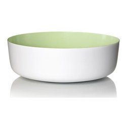 Inova Team -Contemporary Melamine Bowl, Green - The scientifically formulated Pantone-colored interior of this bowl pops against a stark white body. Made of durable melamine, this deep, sculptural vessel can be used as a snazzy serving bowl, or a stylish centerpiece.