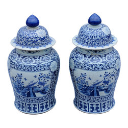 Marco Polo Imports - A Pair Of Blue And White Jars - This timeless pair of traditional Chinese jars created from porcelain with intricate blue and white designs
