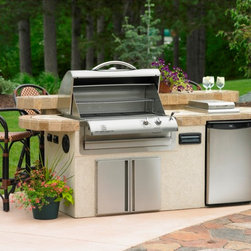 Outdoor Kitchen Island - St. Martin Grill Island with Slate Tile & Stucco. Comes standard with Autumn MIst & Indian Multi-color slates and Van Dyke Stucco. Package includes Cook Number Grill and Danby Refrigerator. Get it at www.outdoorrooms.com