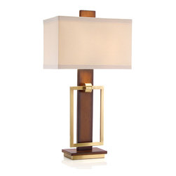 Mixed Media Table Lamp - Stately enough for a private library; sophisticated enough for a pleasant great room. This mixed-media table lamp combines warm wood with the cool configuration of brass accents. Set atop a combination base, the light features a simple rectangular shade in Beige that allows the distinctive form of the lamp to remain the focus.