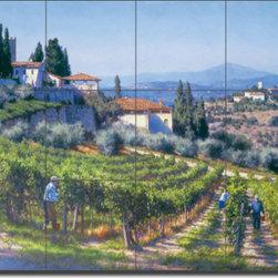 "Artwork On Tile - Carey Tuscan Vineyard Art Ceramic Tile Mural 24"" x 18"" GW-JC001 - * 24"" w x 18"" h x .25"" Ceramic Tile Mural on Architectural Grade, 6"" Tile w/Satin Finish"