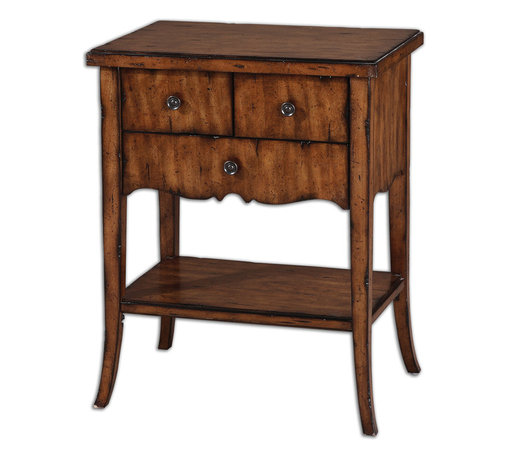 Uttermost - Carmel Wood End Table - A pair of these tables would go nicely in your bedroom or your living room. Or one of these tables could go in your entryway to showcase a pretty vase. The dovetail drawers, pewter finished knobs and distressed veneer give this table an upscale look for a pretty great price.
