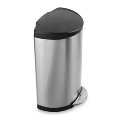 Simplehuman - simplehuman Smartbucket 40-Liter Semi-Round Step-On Trash Can - This stainless steel semi-round step can has a modern, practical design. Its 40-liter capacity and shape is the epitome of efficient living by design.