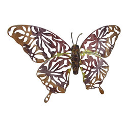 Zeckos - Pink and Purple Metal Butterfly Wall Hanging 21 x 12 In. - Add a beautiful accent to your home, porch, or patio with this openwork metal butterfly wall hanging. It measures 21 inches wide by 12 inches high and it is hand painted with pink and purple enamels. It easily mounts to the wall with a single nail or screw by the metal keyhole hanger on the back. This piece makes a wonderful housewarming gift that is sure to be admired.
