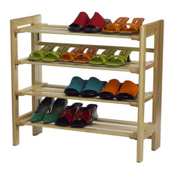 Winsomewood - Shoe Rack, 4--tier - The shoe rack can hold at least a dozen pairs of shoes and can be stacked on top of another unit to create a wall of shoes. Simple and polished, it is an easy way to organize the clutter at the bottom of your closet.