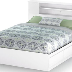 South Shore - Full Queen Bedset Bookcase Headboard in White - Manufactured from eco-friendly, EPP-compliant laminated particle boardcarrying the Forest Stewardship Council (FSC) certification. Adjustable for a full bed and queen bed. Features 2 practical drawers. Box spring not required. Smart Glide drawer slides feature stops and built-in dampers. Mattress and pillows are not included. Transitional style. Ready to assemble. Assembly required. Weight limit: 500 lbs.. 5-Year warranty. Bed: 82 in. L x 62 in. W x 14 in. H. Full/queen bookcase headboard: 63.5 in. L x 9 in. W x  40.25 in. H. Full/queen headboard: 65 in. L x 3 in. W x 46 in. HMinimalist style meets practical functionality in the Vito collection. Each piece of furniture features straight, modern lines enhanced by a softer touch. Neutral chocolate finish by providing subtle accents that are understated yet draw the eye.