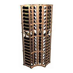 Designer Series Wine Rack - Curved Corner with Display - The 90 degree Curved Corner wooden wine rack allows your racking to make a flowing transition from wall to wall. This corner treatment adds a decorative touch to your wine cellar. Each curve is comprised of 4 columns x 19 rows of individual bottle style wine racking. Product requires assembly. Please note: molding packages are available separately.