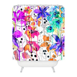 DENY Designs - Holly Sharpe Lost In Botanica 1 Shower Curtain - Who says bathrooms can't be fun? To get the most bang for your buck, start with an artistic, inventive shower curtain. We've got endless options that will really make your bathroom pop. Heck, your guests may start spending a little extra time in there because of it!