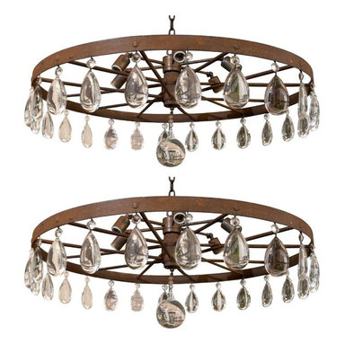 "Eco Friendly Furnture and Lighting - USA 1920's 1920's Rusted Farm Equipment Vintage Wagon Wheel as a chandelier with huge tear drop crystal decorations and huge giant crystal ball. 6 light sockets and comes with 36"" chain and canopy to match."