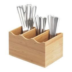 Cal Mil - 8.25W x 5.5D x 4.75H Bamboo Flatware Display Midnight 1 Ct - This flatware display is made with three slots to help organize and separate the utensils. This unique and modern product is a green alternative to other flatware displays and will complement any restaurant hotel buffet or catered event