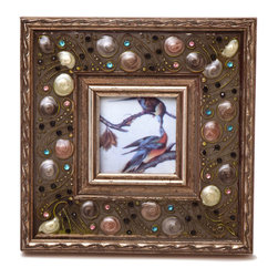 "Traders and Company - Enamel Inlaid 3x3 Wood Picture Frame w/ Jewels, 7.5""Lx1""Wx7.5""H - Belcourt - Crafted from wood and given a classically antiqued look, each frame is dramatically inlaid with swirled resinous enamel. Embedded colorful rhinestone jewels dot the design, adding sparkle and shimmer to your photos. Each frame comes with an attached kickstand for desktop use, or hooks for vertical or horizontal wall hanging. Fits 3""x3"" photos. Alternate shapes & styles sold separately. Dimensions: 7.5""Lx1""Wx7.5""H"