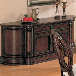 Coaster - Tabitha Buffet Only, Rich Cherry - This collection of elaborate carvings and careful detail brings forth the kind of beauty reserved only for the master dining room. China cabinet features touch lighting. Rich birch solids and veneers are set in a cherry finish. Leaf size of dining table adds 24 extra inches to accommodate family and friends.