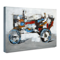"Vertuu Design - 'Farmboy I' Artwork - Cool and warm color palettes mix in this giclee printed acrylic canvas to create an eye-catching look. Featuring hand-painted wet brushstroke embellishments, the ""Farmboy I"" Artwork depicts a colorful tractor against a plain background. Display it in a bedroom or office as a unique accent piece."