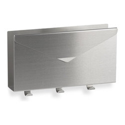 Umbra Lettro Brushed-Aluminum Letter Organizer - For ingoing and outgoing mail, I like this modern envelope-esque letter sorter. It does double duty as a key rack, so no one is searching for misplaced keys on busy mornings.