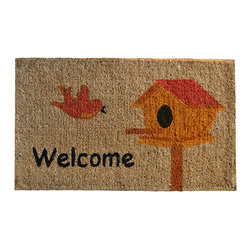 Imports Décor - Birdhouse Doormat - Extend an eye for style outwards with a beautiful doormat that communicates sweet sense of homecoming while doing the dirty work of protecting carpets and floors. Perfect on an entryway or patio, this coir fiber is ready come rain, snow and mud. Welcome home!   1'' thick Coir Sweep clean Imported