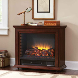 Pleasant Hearth - Pleasant Hearth Sheridan Mobile Fireplace - Mahogany Brown - GLF-5002-68 - Shop for Fire Places Wood Stoves and Hardware from Hayneedle.com! The panoramic Pleasant Hearth Sheridan Mobile Fireplace - Mahogany is a 5200 BTU infrared heater that can quickly heat up a space as big as 1 000 square feet without drying the air. It features three adjustable levels of brightness and five levels of heat that can be selected from the control panel or the included remote control. No venting plumbing or assembly is required. Just add the optional casters and plug it into any standard outlet to raise the heat and lower your energy costs.About GHP GroupGHP Group creates electric fireplaces accessories log sets and other heating options found in homes across America. With years of experience and a close attention to detail their products exceed industry standards of safety quality durability and functionality. Whether you're warming a room or just making a relaxing glow there's a GHP Pleasant Hearth product for you.