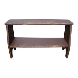 Red Fox Primitives, LLC - Kitchen Bench - Primitive kitchen bench great for showing off your homemade jelly's and jam's. Would also be a great display for smaller crocks and trinkets!