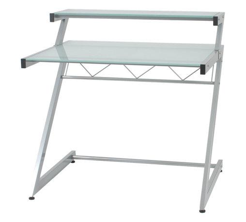 Eurostyle - Z Deluxe Desk-Small+Shelf-Aluminum/Frosted - Aluminum powder, epoxy coated steel frame