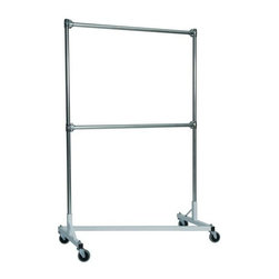Z Racks - 48 in. Double Rail Z-Rack Garment Rack in Whi - Base Color: White/Off-White. 500lb capacity. 14 gauge, 48 in. Long steel base (Environmentally safe powder coated finish). 16 gauge, 72 in. upright bars and double hang rails. 1 5/16 outside diameter upright bars and hang rail. Grey non-marking soft rubber with TP center 4 in. casters. Made in the USA. Assembly Required. 51 in. L x 23 in. W x 79 in. HThis four foot double rail Z-Rack, a multi-purpose clothing rack, is able to withstand just as much heavy use as its larger counterparts, but still fits easily into smaller spaces. The uprights still extend to a full six feet, providing a good amount of hanging space