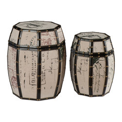 SEI - Vintage Paris Postcard 2 Piece Storage Drum - Add an eye-catching piece to your home that offers both beauty and practicality. This unique drum set is a charming focal point and conversation starter while also offering enclosed storage. This set includes two decorative drums in a tan burlap finish with classic postcard designs which inspire an air of travel. The edges feature black trim with copper finish nails, adding to the suggestion of the journey abroad. The drums can be stacked in a corner or placed side by side for a beautiful addition to any room. The drum lids remove easily to reveal interior storage space that is perfect for small household items. This storage drum set will add artistic charm to the family room, home office, or bedroom. This set adds a lively character to homes with modern or vintage decor.