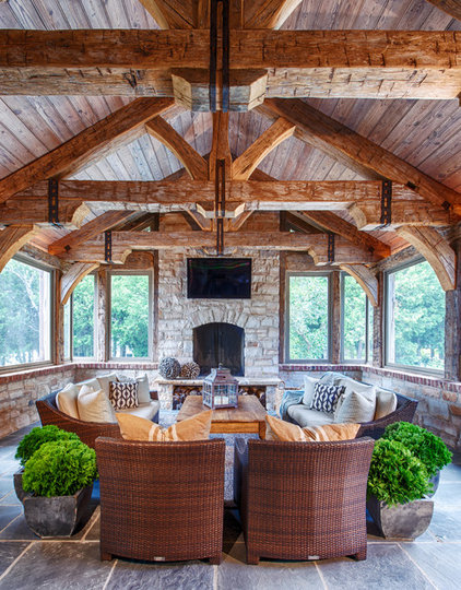 Rustic Family Room by DeLeers Construction, Inc.
