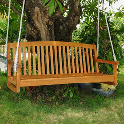 International Caravan - International Caravan Royal Tahiti Yellow Balau Hardwood Curved-back Three-seate - This wood swinging chair will make the perfect addition to any backyard or patio. With the ability to comfortably seat three people,this swing has a curved high back for enhanced comfort,includes durable hanging rope,and supports up to 500 pounds.