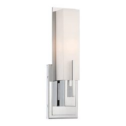 "Possini Euro Design - Possini Euro Midtown 15"" High White Glass Chrome Wall Sconce - Add a comforting contemporary look to your bath vanity area or hallway with this white glass and chrome wall sconce from the Possini Euro Design Midtown collection. Attractive and versatile transitional style sconce features a vertically-oriented rectangular white glass shade above a rectangular wall plate in sleek chrome finish. This chic light will bring a new look to any part of your home. White glass. Chrome finish. Takes one 60 watt T10 bulb. 14"" high. 4 1/2"" wide. Extends 3 1/2"".  White glass.  Chrome finish.  Takes one 60 watt T10 bulb.  15"" high.  4 1/2"" wide.  Extends 4 1/2"" from the wall.  Requires a 15"" clearance for re-lamping."