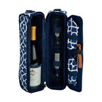 Picnic At Ascot - Sunset Wine Carrier for 2, Trellis Blue - Top quality deluxe wine holder with glasses featuring state of the art Thermal Shield™ insulation cooler to maintain wine at the perfect temperature.  Glass compartment can be used to hold a second bottle.  Contains two glasses, napkins, corkscrew and wine stopper.  Adjustable shoulder strap. This stylish gift will always impress.