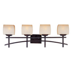 Joshua Marshal - Four Light Wilshire Glass Roasted Chestnut Vanity - Four Light Wilshire Glass Roasted Chestnut Vanity