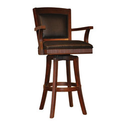 Other Brands - Wildwood 30 in. Swivel Bar Stool with Arms Multicolor - 1150-17-BS-30 - Shop for Stools from Hayneedle.com! Supple leather upholstery and tobacco-finished wood give the Wildwood 30 in. Swivel Bar Stool with Arms a traditional warmth and elegance that stand out in any decor. This quality stool is suitable for home bar or bar-height dining offering prolonged seating comfort with its padded seat leg stretcher and convenient swivel feature.