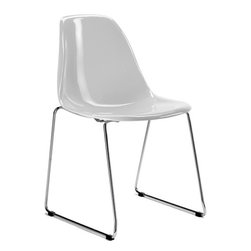 Stack Chair by Kubikoff - Brilliant white is just one of the many color choices for the shell seat of this modern Stack Chair. True to it's name, this chair is stackable to the max, making it an excellent choice for extra seating.