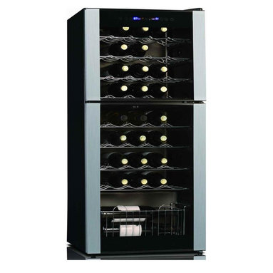Koolatron - 45 Bottle Dual Zone wine cellar - The Koolatron 45 Bottle Wine Cellar keeps your favourite vintages chilled and ready to enjoy. This unique fridge can keep your wines at their ideal temperature  in the spacious dual cooling zones. Rearrange the fridge's shelves to make space for champagne, port or uniquely shaped wine bottles. The LED temperature display keeps wine chilled at optimal temperatures, accurate to a single degree.. No assembly required. 17.5 in. L x 18.5 in. W x 46 in. H