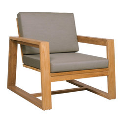 Mamagreen - Avalon Lounge 1-Seater - The Avalon Lounge 1 Seater combines an angular reclaimed teak frame with soft outdoor cushions upholstered in durable Sunbrella fabrics. The wide arms and angled back make for comfortable lounging.