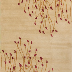 Surya - Surya Naya NY-5238 (Tan, Red) 8' x 11' Rug - Naya represents the current trends of contemporary designs by visionary designers around the world. Hand tufted in India, this sophisticated collection reflects the modern mood of our time with ground breaking designs and will add a true fashion statement to your home. Each rug is produced by talented artisans using the finest wool and is certain to transform your home into a trendy conversation starter.
