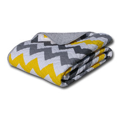 None - Vida Multicolor Reversible Quilted Cotton Throw Blanket - Infuse trendy color into your home decor with this reversible throw,featuring a quilted cotton construction for comfort and durability. A grey background is accented with colorful chevron print on this piece,with a small zig zag reverse.