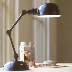 Harrison Bedside Lamp - I love the vintage appeal of this task lamp. The oil-rubbed bronze finish contrasts nicely with a crisp, white desk.