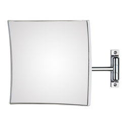 WS Bath Collections - Quadrolo 63-1 Magnifying Mirror 3x - Quadrolo 63-1 x3 by 7.9 x 7.9 x 12.2 Extension Magnifying Mirror, in Chromed Plated Brass Structure and Frame in Chromed Plated Abs