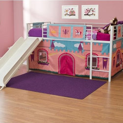 Dorel Home - Princess Castle Junior Fantasy Loft with Slide - White - AMW599 - Shop for Bunk Beds from Hayneedle.com! Whether her favorite princess is Rapunzel or Leia the Princess Castle Junior Fantasy Loft with Slide - White is every little girl's fantasy. Imagine the hours of fun she'll have sliding down from her tower to visit the kingdom below. The chic white finish is ideal for any style while the durable metal construction and guard rails ensure safe slumber and play. The themed tent creates a cozy play area under the bunk and can be removed to be laundered or stored as your child grows up.About Dorel IndustriesFounded in 1962 Dorel Industries is a family of over 26 brands including bicycle brands Schwinn and Mongoose baby lines Safety 1st and Quinny as well as home furnishing brands Ameriwood and Altra Furniture. Their home furnishing division specializes in ready-to-assemble pieces including futons microwave stands ladders and more. Employing over 4 500 people in 17 countries and over four continents Dorel is renowned for their product diversity and exceptionally strong commitment to quality.We take your family's safety seriously. That's why all of our bunk beds come with a bunkie board slat pack or metal grid support system. These provide complete mattress support and secure the mattress within the bunk bed frame. Please note: Bunk beds and loft beds are only to be used by children 6 years of age or older.