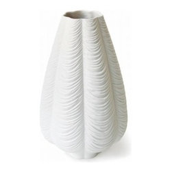 Jonathan Adler - Jonathan Adler | Charade Drape Vase - The Charade Drape Vase is a show-stopping accessory for the modern home. Each detail of the Charade Drape Vase is hand- carved,  then cast in high-quality matte porcelain. Stunning enough to display on its own, the Charade Drape Vase is the perfect vase to  hold a simple bunch of tulips or a dozen roses sent to you by someone special.