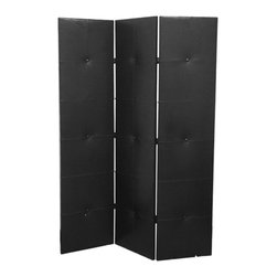 ORE International - 3-Panel Black PU Leather Room Divider - This classic style room divider made in PU Black leather creates a simple room into a room with style. Divider enables for individuals to keep a safe zone and to keep privacy from visitor's view. The divider is made up of three panels and hinges for easy folding in both directions. Convenience to fold and put away if not in use. Fully assembled. Dimensions: 47 in. L x 10 in. W x 70.25 in. H ( 10 lbs. )