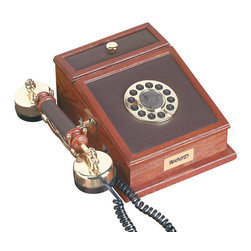 Renovators Supply - Wood Telephones Oak Phone 10'' H x 7 1/2'' W x 4 3/8'' D | 19807 - Executive Phone made of oak. A great look for your favorite executive or period library. Has pulse- touchtone dialing- redial and a storage compartment. This is oak wood with brown leather. 10 in. high x 7 1/2 in. wide x 4 3/8 in. deep.