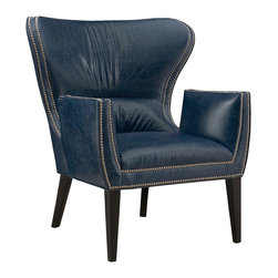 CR Laine - Gustav Leather Chair - The contemporary Gustav leather chair strikes a statement-making pose in the mod interior. Edged in nailhead trim, the posh seat's retro silhouette curves into scintillating style. Shown in Capri Indigo LL; Available in a variety of fabric and finish options; Customizable nailhead trim; Hand crafted in the USA using sustainable materials; Kiln-dried frames made from responsibly harvested hardwood; Water-based wood adhesive with no VOC emissions; Seat deck and trim pad made from 80% regenerated fibers; Cushion cores made from at least 10% natural plant-based ingredients