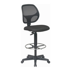 Office Star - Office Star Deluxe Mesh Back Drafting Chair With Fabric Seat and Foot Ring - Deluxe Mesh Back Drafting Chair with 20 Inch Diameter Foot ring . Fabric Seat and Mesh Back with Adjustable Foot ring. Pneumatic Height Adjustment 24.25 Inch to 33.75 Inch. Heavy Duty Nylon Base with Dual Wheel Carpet Casters What's included: Office Chair (1).