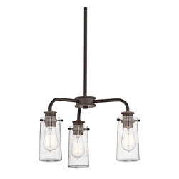 Kichler Lighting - Kichler Lighting 43057OZ Braelyn Transitional Chandelier - There's so much to love about the reclaimed style of this 3 light semi flush or chandelier from the Braelyn™ collection. The vintage industrial design is punctuated with Clear Seedy Glass shades, reminiscent of glass jars that were a staple of 19th century American life. The Olde Bronze™ finish and carbon filament replica light bulbs enhance this style, making the fixtures the perfect addition to any spaces.