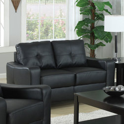 Coaster - Jasmine Collection Black Transitional Love Seat - Smart styling wrapped in super-soft bonded leather. The shapely Jasmine sofa enhances any space with big, plush cushions, and slightly flared design that welcomes you with open arms.
