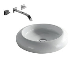 """TCS Home Supplies - Rounded Edge White / Black Porcelain Ceramic Countertop Bathroom Vessel Sink - Rounded Edge Design. Bathroom Vessel Sink. Porcelain Ceramic.  Exterior Diameter 19-1/2"""". Interior Diameter 13"""". Depth 4-3/4"""". Compatible with Most Wall-Mount and Vessel Filler Faucets."""